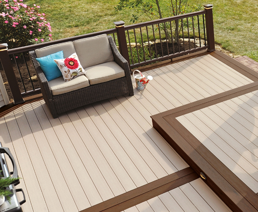 Easyclean terrain capped deck boards from timbertech for Garden decking borders