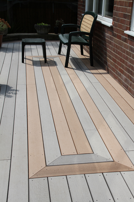 Grey decking by edeck composite decking at timbertech uk for Grey composite decking