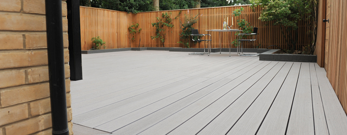 Garden decking with composite deck boards at timbertech uk for Garden decking images uk